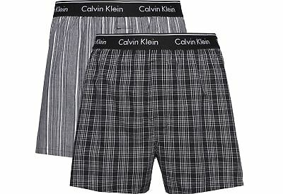 8a169158a8eb1f Calvin Klein Mens 'Traditional' Woven Check Boxer Shorts (2-Pack) Slim