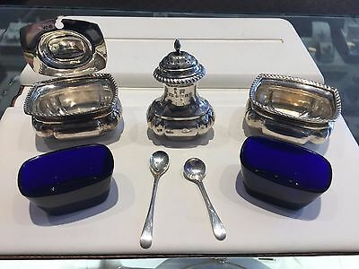 Vintage Sterling Silver Mustard Pots with Blue Glass - S. Blanckensee & Son Ltd