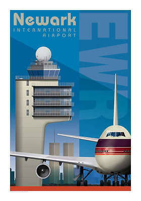 "Ja049 Ewr Newark Airport Poster Art Print 14"" X 20"" By Artist Chris Bidlack"