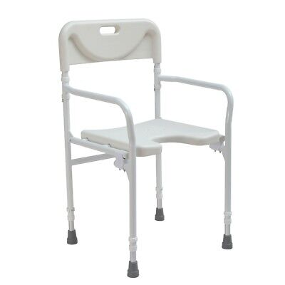 Folding wetroom shower seat stool lightweight  adjustable height chair backrest