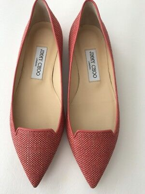 9a0ce62bbb2 JIMMY CHOO CORAL Pink Red Tone Silk Satin Crystal Sling-Back Shoes ...