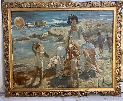 ST.IVES / NEWLYN SCHOOL IMPRESSIONIST OIL PAINTING of CHILDREN ON BEACH signed