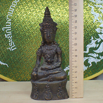 Phra Chai Ngang Old Statue Deity Blessed Buddha from Cambodia Rare Bucha