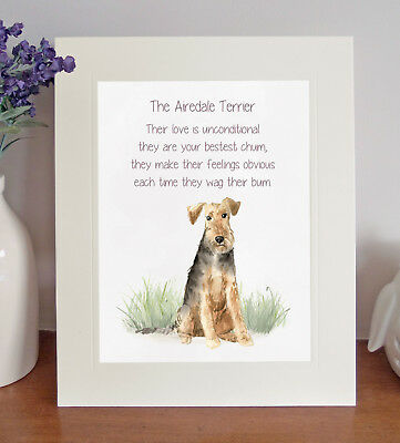 Airedale Terrier BESTEST CHUM Novelty Poem 8 x 10 Picture/10x8 Print Fun Gift