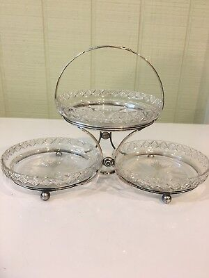 Vintage Hawkes Sterling Silver 3 Tear Candy Dish-Crystal Dishes Hawkes💕🌸