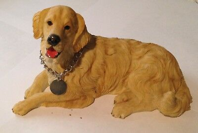 "Golden Retriever Stonecast Hand Painted Figurine - 8"" Long By 5"" High"
