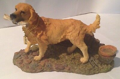 "Golden Retriever Fetching Newspaper - Stonecast Figurine - 10"" Long By 6"" High"