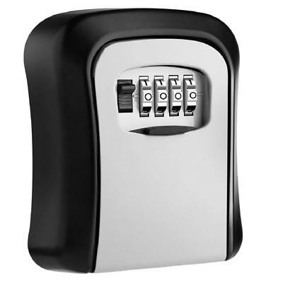 Key Lock Box Wall Mounted Aluminum alloy Key Safe Box Weatherproof 4 Digit O2P4