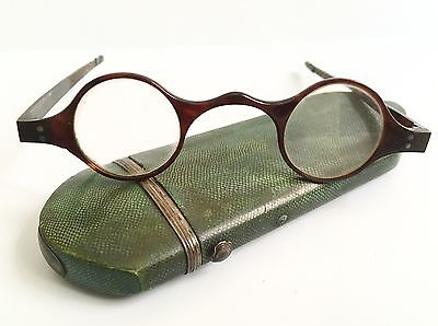 Antique Faux Tortoise Shell Spectacles With Galuchat Spectacle Case England 19c