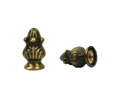 Lamp Finial-Pair of Antique Brass ACORN finials-Dual Thread