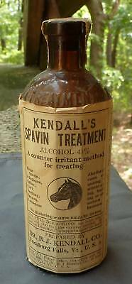 KENDALL'S SPAVIN TREATMENT BOTTLE-Enosbulg Falls VT.-Label-Embossed-Contents-189