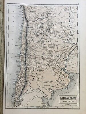 1858 Chile Argentina Bolivia Antique Map By Adam & Charles Black
