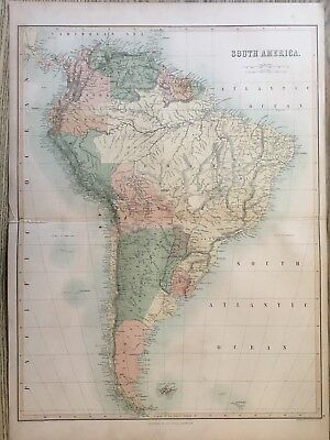 1858 South America Large Antique Map By Adam & Charles Black