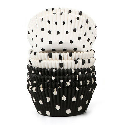 200 Count Polka Dots Black and White Paper Baking Cups / Cupcake Liners Sta D3D4