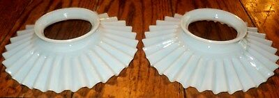 Pair of  Vintage Pleated Milk Glass Shades Ruffled, Ribbed, Fluted, Antique