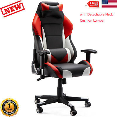 Gaming Chair High Back Ergonomic Swivel Racing Computer Office Seat Footrest New