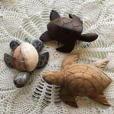 (3) Wood/Stone Carved TURTLE Honu Natural Handmade Rare Sacred Wood Collectible