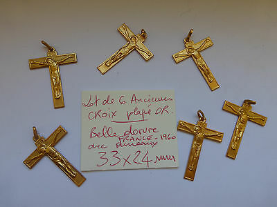 PROMO Lot de 6 ancienne croix plaqué OR  crucifix FRANCE 1960 belle dorure medal