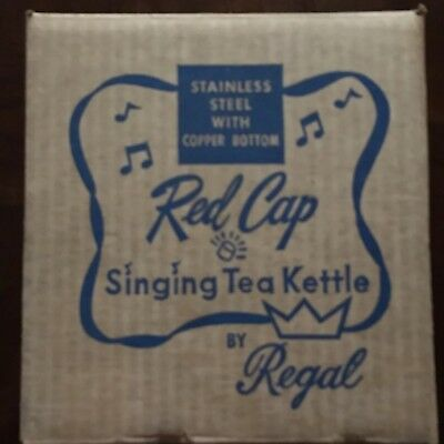 Vtg New 50's Regal Red Cap Stainless & Copper Singing Tea Kettle Sealed In Box