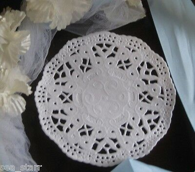 """4""""  INCH WHITE PETITE WEDDING BOW LACE DOILY round 25 PCS CANADA CARDS CRAFTS"""