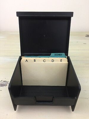 RUBBERMAID - Vtg Black Plastic Organizer, Alphabetical & Month Cards - UNUSED!