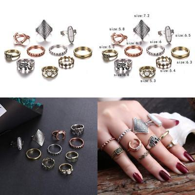Gmai Bohemian Vintage Women Crystal Joint Knuckle Nail Ring Set Of 10 Pcs Finger