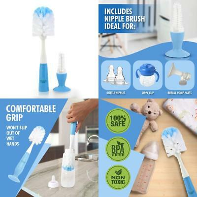 2-In-1 Baby Bottle Brush  Nipple Cleaner With Suction Cup Sleek Design - Blue B