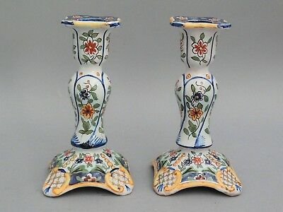 Antique French Faience Candlesticks, Pair, Quimper-Style, Hand Painted