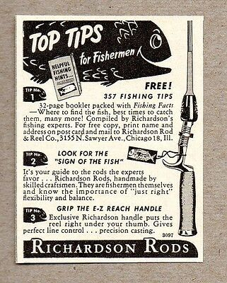 1950 Print Ad Richardson Fishing Rods Made in Chicago,IL
