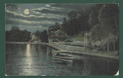 Moonlight on Lake Rock Springs Park Chester WV Vintage Used  Postcard 1910 PM