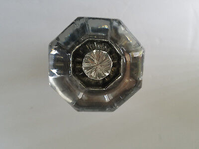 Pair of Vintage 8 Point Glass Door Knobs with Mercury Centers and Spindle