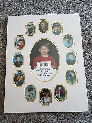 SCHOOL DAYS Year Memory Collage 11 x 14 Frame Mat w/ 13 Openings Ivory Gold NIP
