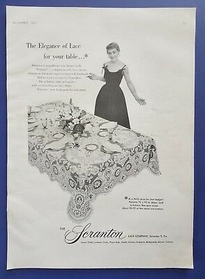 1955 Scranton Lace Company Pennsylvania Table Cloth Photo Vintage Print Ad