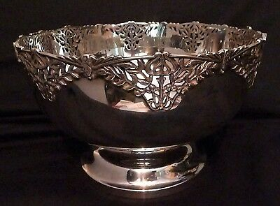 English Sterling Silver Ornate Pierced Work Bowl by William Devenport 1929