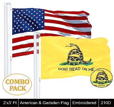 Wholesale LOT | USA 2x3ft Single Embroidered & Gadsden 2x3 ft Single Emb Flag