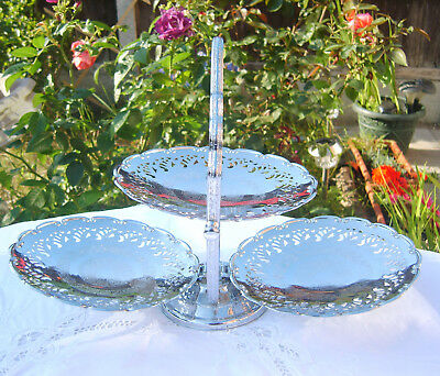 Vintage Folding Chrome Cake Stand 3 Tiers