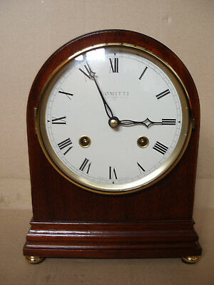 Comitti Of London Mahogany Arch Top 8 Day Mantle Clock With Strike Brand New Ib