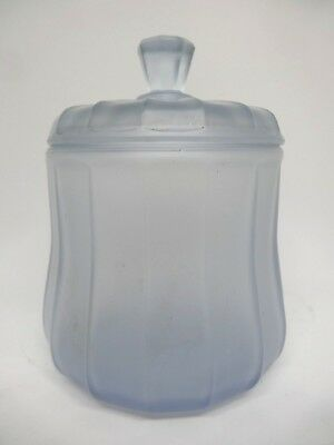 Art Deco Frosted Pressed Blue Glass Biscuit / Cookie / Candy / Storage Jar