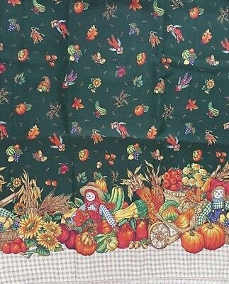 "Fall Scarecrows, Pumpkins & Sunflowers Tablecloth W/6 Napkins - 102"" x 120"""