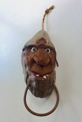 Vintage PIRATE Coconut Head Hand Carved with Painted Chin Ring Shell Eye Bandana