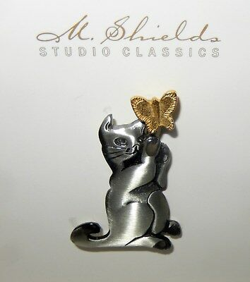 Mark Shields Playful Pewter Cat w Butterfly Pin New In Box