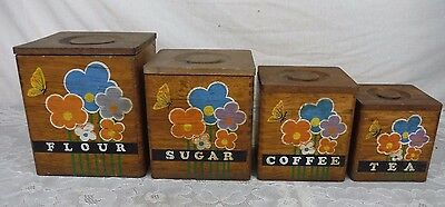 Vintage Mid Century Set of 4 Wood Wooden Canisters Nesting Boxes Storage Floral