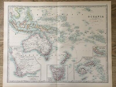 1894 Oceania & Australia Large Original Antique Map By Johnston 122 Years Old
