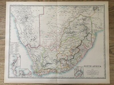 1894 South Africa Large Original Antique Map By Johnston 122 Years Old
