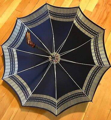 Vintage Umbrella With Carved Amber Bakelite Handle Blue & White Parasol