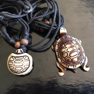 (2) Carved Pair of TURTLEs Honu with Necklace (Adj. Rope) Handmade Unique