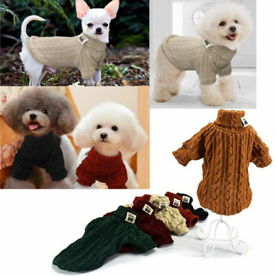 Dog Knitted Jumper Sweater Knitwear Polo Neck Cat Kitten Clothes Warm Pet Puppy