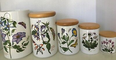 PORTMEIRION  Botanic Garden Set of 5 Canisters Made in England