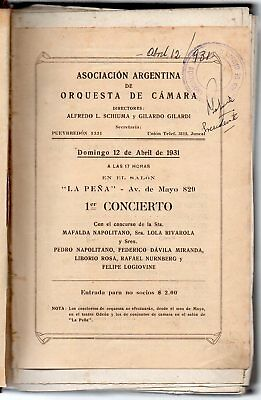 1931-36 Argentina Music Book, Cervantes Theater Programs, Great Rarity