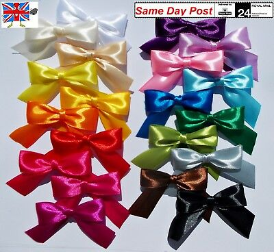Bows large 8cm wide 12pcs self-adhesive COLORS satin 25mm decorations gift craft